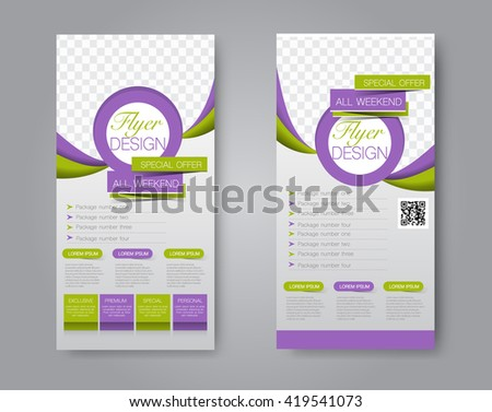 Vector flyer and leaflet design. Set of two side brochure templates. Green and purple color. - stock vector