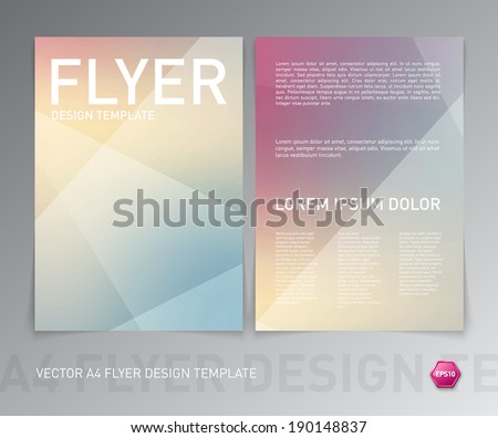 Vector flyer design template. Modern colorful soft geometric background. Can be used for stationery, business cards and brochures.  - stock vector