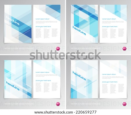 Vector flyer design templates collection with light modern hi-tech backgrounds - stock vector