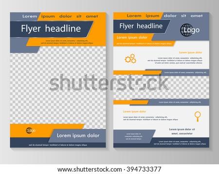 Vector flyer template design. For business brochure, leaflet or magazine cover. Grey orange color - stock vector