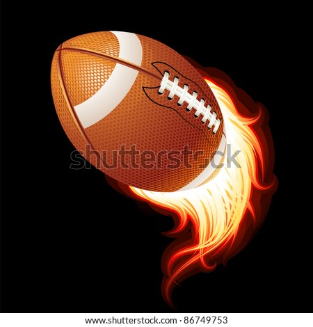Vector flying flaming American football ball on a black background - stock vector