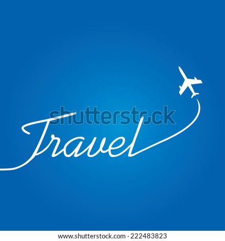 Vector flying plane with travel text. - stock vector