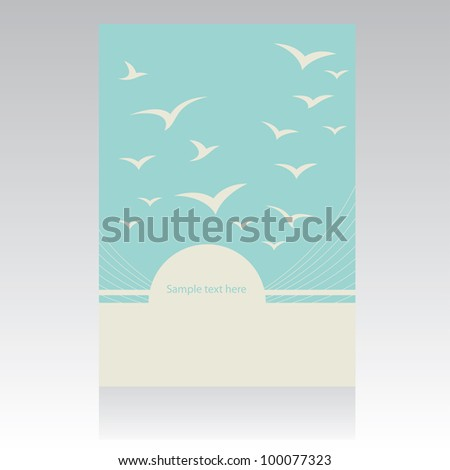 Vector folder design with birds. - stock vector