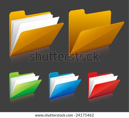 vector folder icons - stock vector