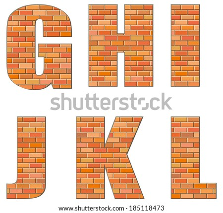 Vector font build out of red bricks. Signs and symbols of the Latin alphabet isolated on white background - stock vector