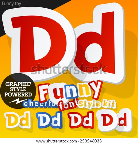 Vector font in shape of funny toys or cartoon elements. Letter D - stock vector
