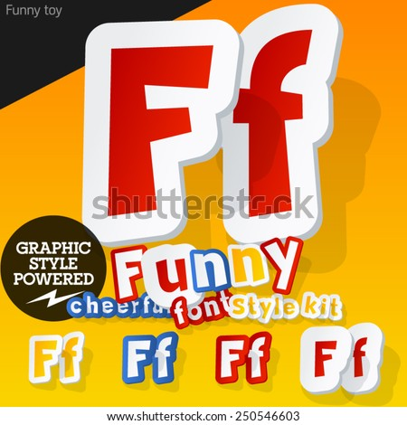 Vector font in shape of funny toys or cartoon elements. Letter F - stock vector