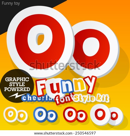 Vector font in shape of funny toys or cartoon elements. Letter O - stock vector