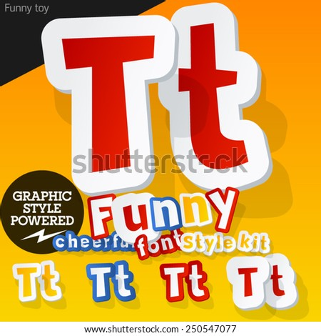 Vector font in shape of funny toys or cartoon elements. Letter T - stock vector