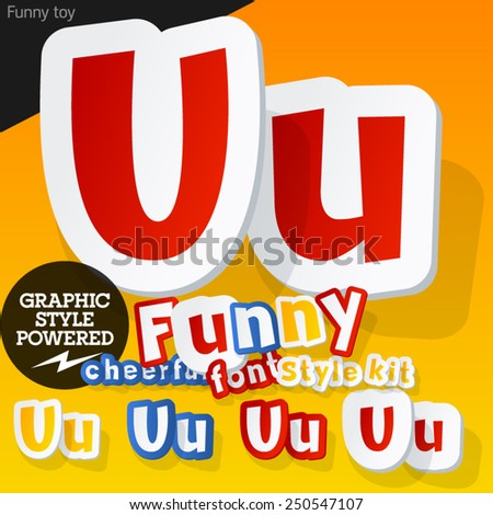 Vector font in shape of funny toys or cartoon elements. Letter U - stock vector