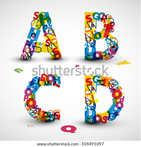 Vector font made from color letters of the alphabet - stock vector
