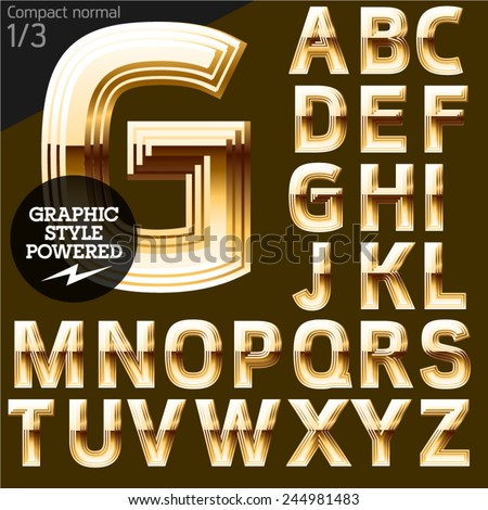Vector font of beveled golden letters. Compact normal. File contains graphic styles available in Illustrator. Set 1    - stock vector