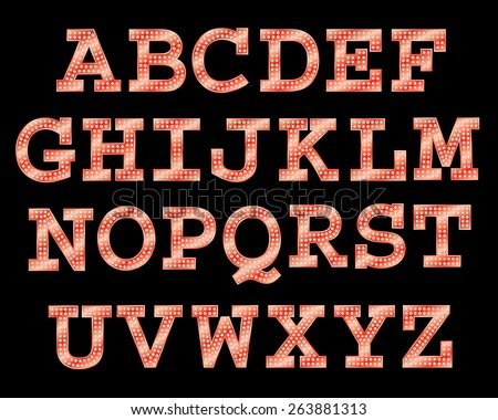 Vector font with bulbs. - stock vector
