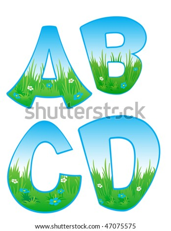 Vector font with elements of the landscape. - stock vector