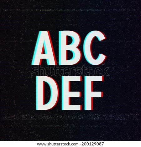 Vector Font with TV Stereo Effect. From A to F - stock vector