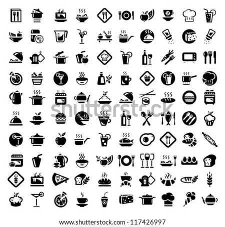Vector 100 Food and Kitchen Icons Set for Web - stock vector