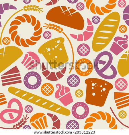 Vector food bakery seamless pattern with baked goods icons. Flour products from pastry shop. Illustration for print, web. Original design element - stock vector