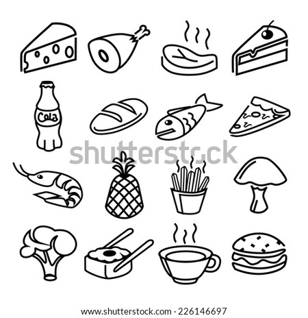 Vector food black icons set - stock vector