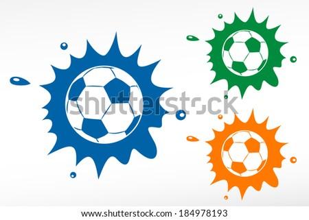 Vector football ball on color blob - stock vector