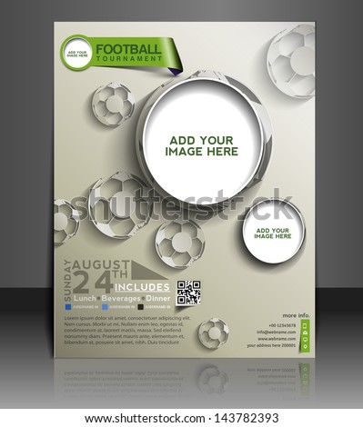 Vector Football Competition Brochure, Flyer, Magazine Cover & Poster Template - stock vector