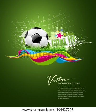 Vector football goal on artistic background design, illustration - stock vector