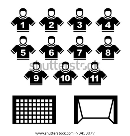 vector football team black symbols - stock vector