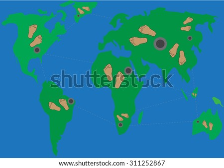 Vector - Foots  round the world map  vector - stock vector