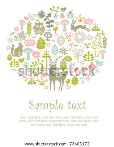 vector forest card - stock vector