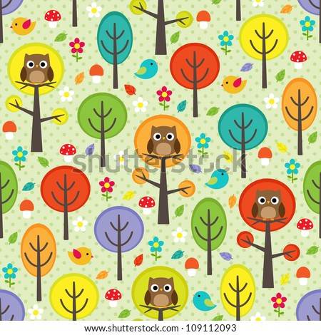 Vector forest seamless pattern with birds, trees and mushrooms - stock vector