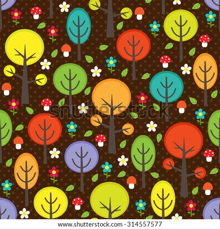 Vector forest seamless pattern with trees - stock vector