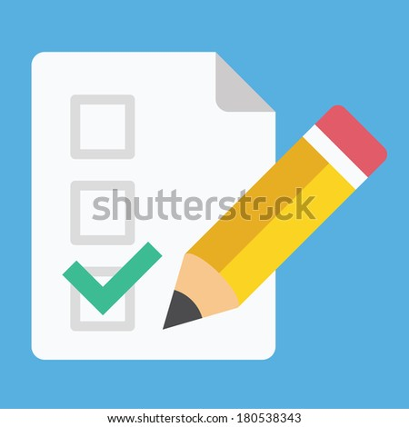 Vector Form Pencil and Tick Icon - stock vector