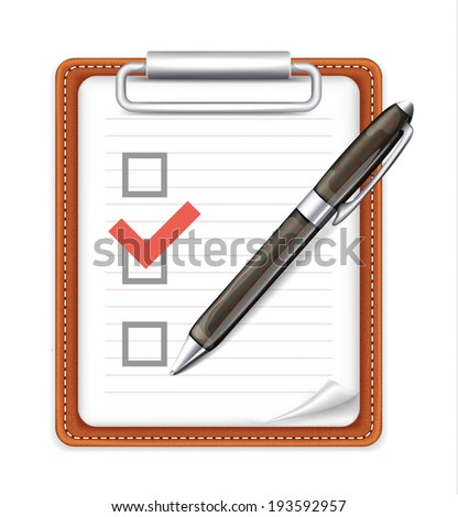 Vector Form with Pen and Checklist Icon - stock vector