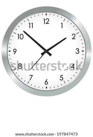 Vector format of simple metal analogue clock - stock vector