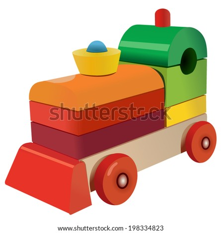 Vector format of wooden cubes colored locomotive toy - stock vector