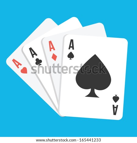 Vector Four Aces Playing Cards Icon - stock vector