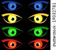 vector, four pairs of scary Halloween eyes - stock vector