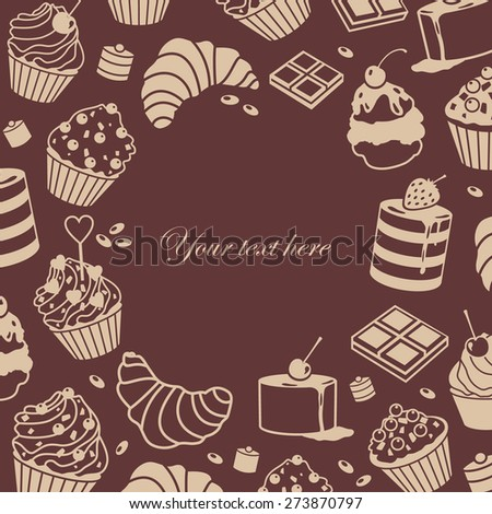 vector frame card invitation with cakes - stock vector