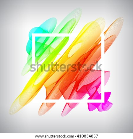 Vector frame design, with space for your text. Color smoke template with frame. - stock vector