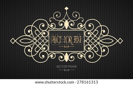 Vector frame in mono line style. Easy to edit. Perfect for invitations or announcements. - stock vector