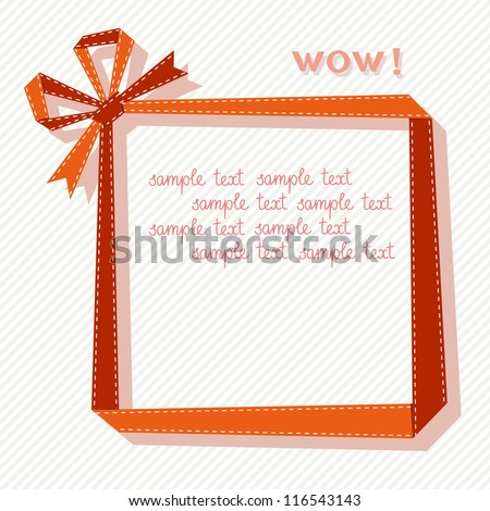 Vector frame made from red paper ribbon with bow. Origami modern simple light background with text box for presentation. Original greeting, invitation card Valentines Day, Christmas, birthday, wedding - stock vector