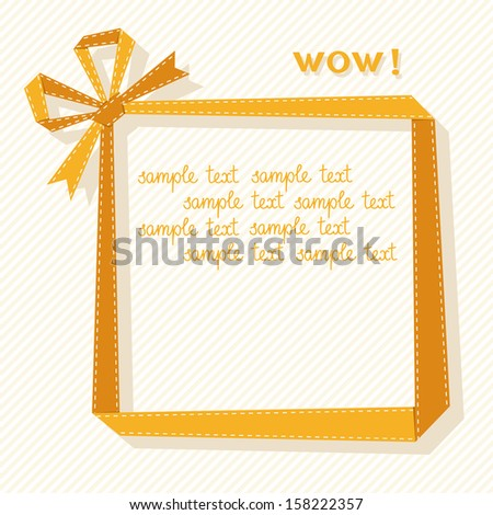 Vector frame made from yellow paper ribbon with bow. Origami modern simple light background with text box for presentation. Original greeting, invitation card for print, web. Decorative illustration  - stock vector