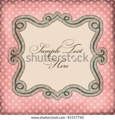 Vector frame on polka dots background - stock vector