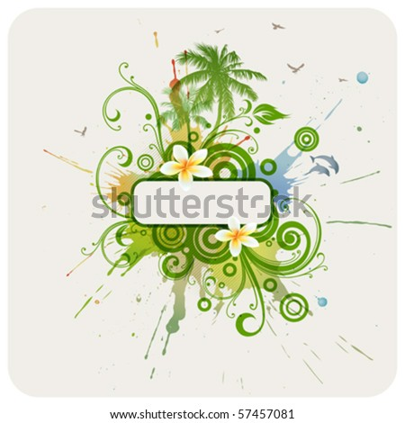 Vector frame, palms, dolphins, plumeria flowers. - stock vector