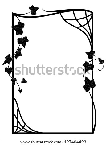 vector frame with branches of ivy  in black and white colors - stock vector