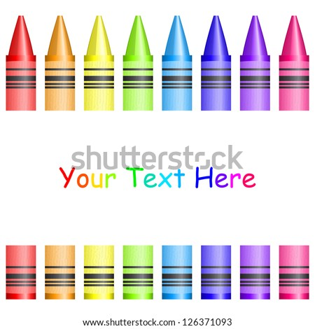 Vector frame with colorful crayons - stock vector