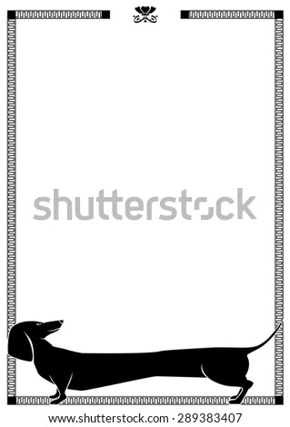 vector frame with dog dachshund in black and white colors - stock vector