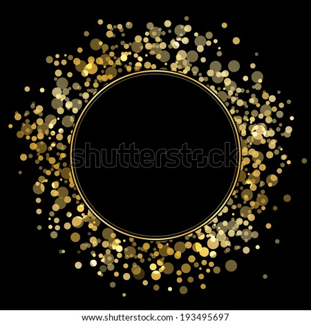 Vector frame with gold sparkles - stock vector