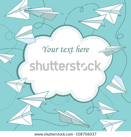 vector frame with paper planes - stock vector