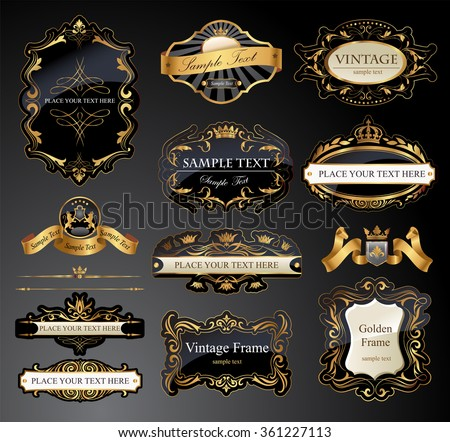 Vector frames and ornamental labels set. - stock vector