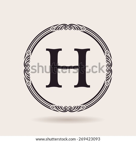 Vector frames design templates. Vintage labels and badges for logos. Alphabet letter H - stock vector